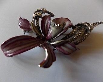 Vintage Enamel Marcasites Big Orchid Flower Brooch Pin LOVELY