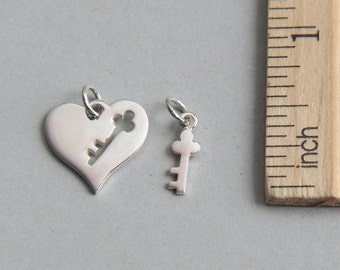 SALE, Sterling Silver Heart and Key Charms, Sterling Silver Heart Key Set Charm, Heart Charm, Key Charm, Love Charm, Key Heart, ( 1 piece )