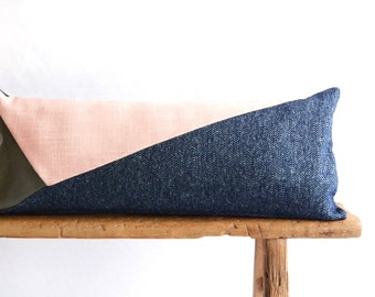 Lumbar Pillow/Rose Quartz/Navy Blue/Blush Pink/Taupe Leather/Triangles/Handcrafted/Custom Pillow/Handmade/Eclectic/ZigZag Studio Design