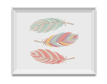 Feathers, Pink Mint Nursery Decor, Feathers Nursery Art, Pink Mint Children's Room Art, Feathers, Tribal, Pink, Mint, Girl