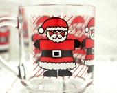 Santa Mugs, Santa Cups, Clear Glass Santa Mugs, Luminarc Santa Mugs, Christmas Mugs, Christmas Cups,