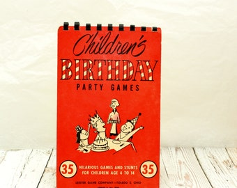 Children's Birthday Party Game Book, Birthday Party Game Intructions, Party Games for Children, Birthday Party Games, Vintage Party Games