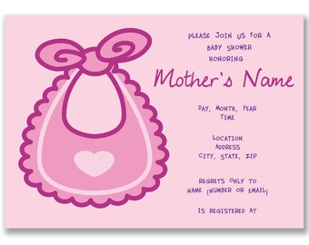 Customizable Bib Baby Shower Invitation [Digital File ONLY]