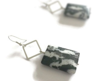 Black and White Earrings -Sterling Silver Jewelry - Zebra Jasper Gemstone Jewellery - Chunky - Fashion