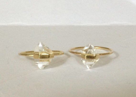 Herkimer diamond and solid 18k gold ring