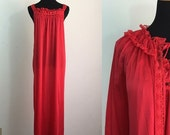 ON SALE // Lady in Red // Cherry Nightgown & Ruffled Robe Set