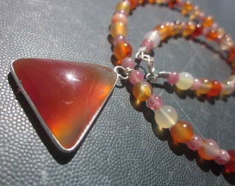 Carnelian Agate and red Aventurine Strawberry Quartz Necklace