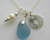 Sea Glass Sterling Silver Compass Cluster Necklace