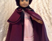 RESERVED plum cloak and bonnet for Caroline.