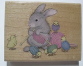 Wood Mounted Rubber Stamp - House Mouse Hopper - Will Knit for Friends - Stampabilities