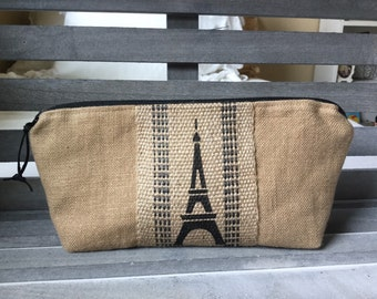 Rustic Linen Burlap Paris Makeup Bag Cosmetic Bag
