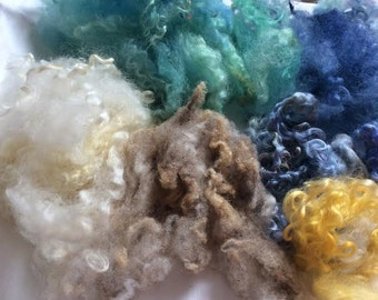 British Rare Breed Wool Locks. Hand Dyed Wool. Felt Picture making, 40gm Spinning, Blending, Waldorf, Felt. 'Seascape' Colourway