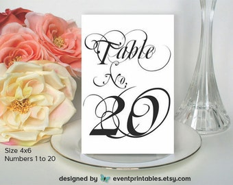 1 to 20 Printable Table Numbers, Wedding Table Numbers, Wedding Table Cards, Wedding Signs INSTANT DOWNLOAD Digital File by Event Printables