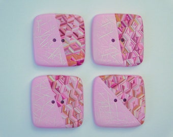 Polymer Clay Buttons, pink square sewing buttons