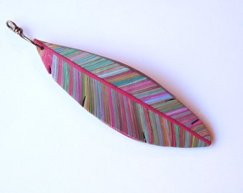 Colorful Feather Pendant, polymer clay feather jewelry supply, necklace component