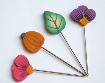 Quilt Pins, polymer clay pin toppers, T-pins, set of 4 Autumn themed stick pins
