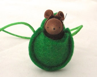 Small brown mouse necklace waldorf  miniature woodland animal NMG2