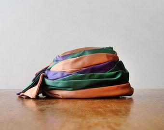Vintage Schiaparelli Hat - Mauve, Green, Blue Satin Pillbox