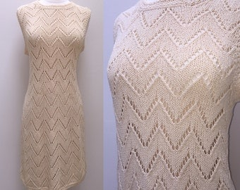 Vintage 1950s 1960s Creme' Hand Knit Sleeveless Dress with Open Wave