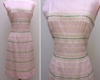 Really Special Vintage 1960s Krist of San Francisco Softest Pink Wiggle Dress with Flower Ribbons Embroidery and Cutwork