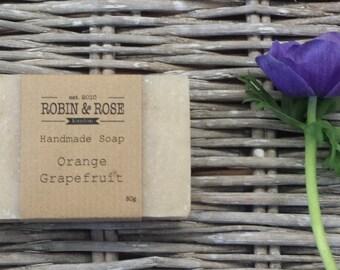 Orange and Grapefruit Natural Moisturising Soap Bar 80g. Handmade // citrus soap // gifts for her