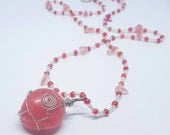 OOAK Silver Wire Wrapped Polished Dark Rose Quartz Pendant with Glass Beads and Chips Necklace