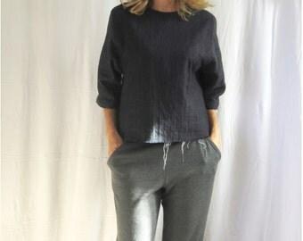 wool sweatpants, womens lounge wear, ladies wool trousers, woollen leggings, wool jersey lounge pants (French grey) - LAST PAIR