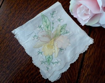 Orchid Organdy White Cotton Handkerchief