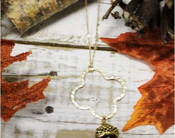 Pendant necklace, acorn, fall, charms, handmade, unique, rustic, jewelry, accessories, harvest, thanksgiving, autumn, tunics,sweaters  | PN8