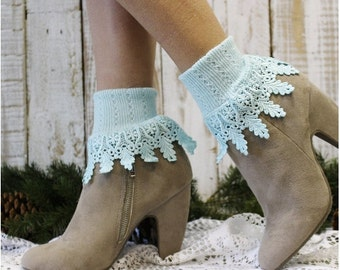 Lace socks | SIGNATURE LACE  Sea Breeze  blue | lace cuff socks | lacy ankle cuffs | victorian heirloom lace | short boot socks |  SLC2