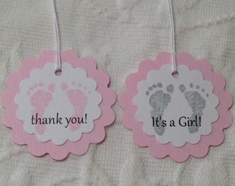 Baby Footprint Tags - It's A Girl Tags - Thank You Baby Tags - Baby Shower Favor Tag