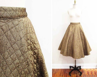 Vintage 1950s Skirt | Quilted Metallic Gold Lurex 1950s Circle Skirt | size small
