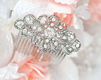 SALE SWAROVSKI wedding bridal crystal head piece , rhinestone pearl hair comb