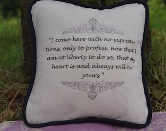 Miniature Jane Austen Inspired Pillow. Sense and Sensibility Quote. Cotton Decorative Pillow