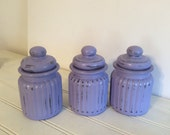 Painted Apothecary Jars - Set Of 3 - Lavender - Glass Canisters - Shabby Cottage Chic - Ribbed Glass - Distressed - Baby Girl - Bathroom