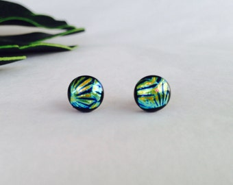 Shell Pattern Dichroic glass stud earrings, on sterling silver - Fused dichroic glass