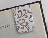 Laminated Magnetic Bookmark Gold Glitter White Scroll Pattern Elegant Sparkle Teacher Gift Christmas Valentines Student College