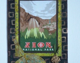 Zion National Park Card Postcard Birthday Her Him Friend Housewarming Thank You Frame Hi Room Decor Wish You Were Here Gift Fabric 4x6