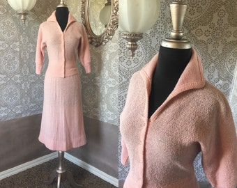 Vintage 1940s 50's Light Pink Knit Sweater and Skirt Set Medium