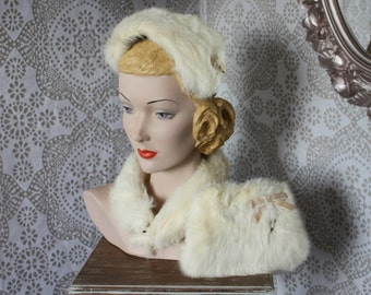 Vintage 1950's Childs White Rabbit Fur Hat and Muff and Scarf Set.