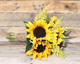 Silk Wedding Bouquet, Wedding Bouquet, Keepsake Bouquet, Bridal Bouquet made with Silk Sunflowers and Yellow Wildflowers.