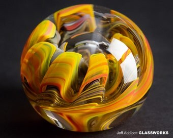 One Of A Kind  Glass Paperweight - Hot Earth Tones with Organic Sea Life Shape and Bubble