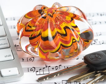Artisan Made Glass Paperweight - Ribbed Clear Crystal with Hot Color Swirl Core