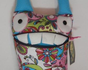 Fantasticlly Fun Flowery Pink and blue pocket monster Handmade with love in Oregon by Sesamecrunch
