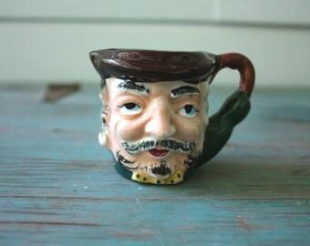Mustache Man Toby Mug, Vintage Ceramic Pitcher, Man Head Planter, Vintage Planter