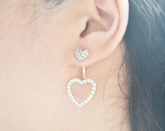 Silver Heart Crystal Ear Jacket Earrings