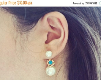 VALENTINES DAY SALE Blue Rose and Pearl Ear Jacket Earrings
