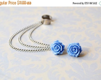 VALENTINES DAY SALE Periwinkle Rose Bloom Triple Chain Silver Ear Cuff Earrings (Pair)