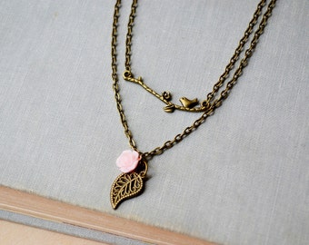 Bronze Bird Branch and Pink Rose Necklace Set