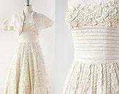75% OFF LAST CHANCE 1950s Couture Ribbon Work wedding dress / Strapless Wedding Dress Set / 1950s Ribbon Skirt / Rosettes / 1950s Strapless